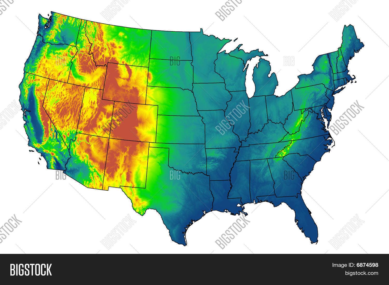USA DEM DTM Elevation Model Map Stock Photo  Stock Images Bigstock - Elevation map of usa