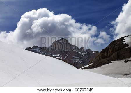 Rocks With Clouds And Snow Plateau