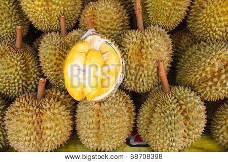 Fresh Durian At Market