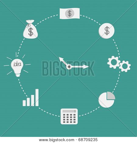 Business Icon Clock. Dash Line Circle Money, Coin, Lamp, Wheel. Flat Design.