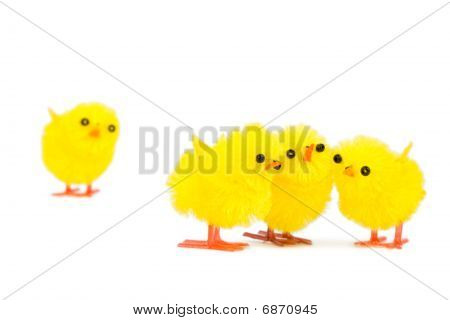 Three Chick Friends Ignoring Poor Chick Outsider