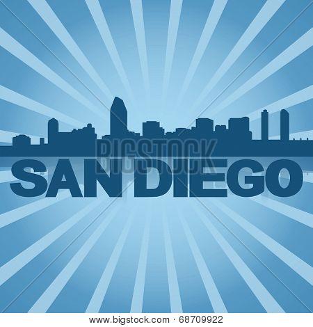 San Diego skyline reflected with blue sunburst illustration
