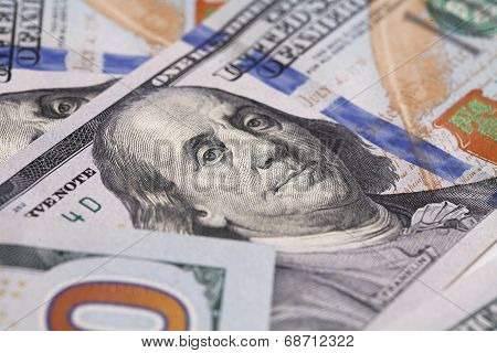 Portrait of Benjamin Franklin close-up on one hundred dollars bill
