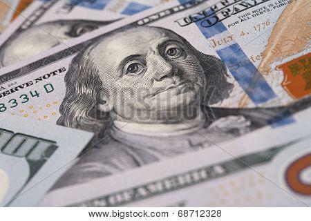 Closeup of Benjamin Franklin on One Hundred Dollar Bill