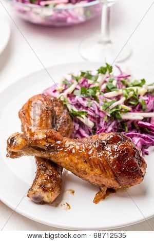 Spicy Orange Jam Glazed Chicken Wings with Red Cabbage Coleslaw