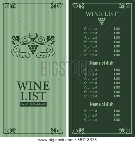 wine menu list