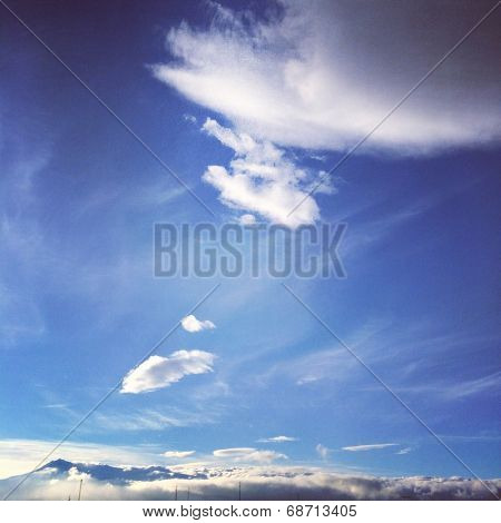 Mountain under clouds in Winter