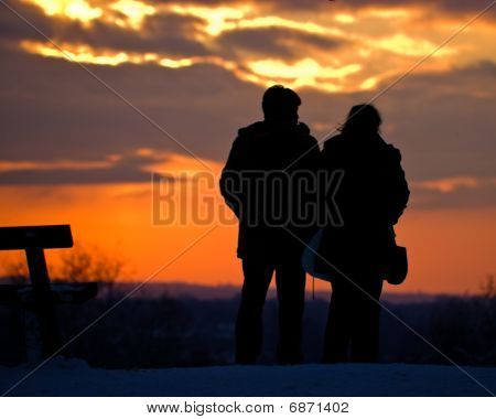 A Couple Watching the Sunset