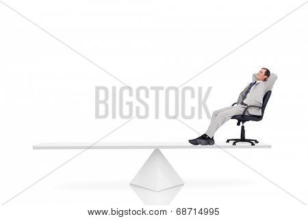 White scales measuring businessman in swivel chair against white background