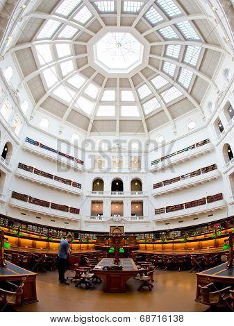 MELBOURNE, AUSTRALIA - July 3, 2014: La Trobe reading room at the State Library of Victoria in Melbourne. It is the central library of the state of Victoria, Australia.