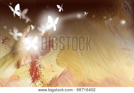 Abstract hand setting butterflies free