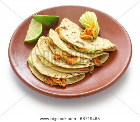 squash blossom quesadillas, Mexican food, quesadillas de flor de calabaza