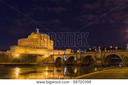 Castel Sant'angelo With Bridge At Night