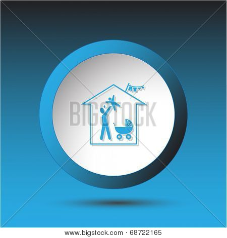 Family home. Plastic button. Raster illustration.