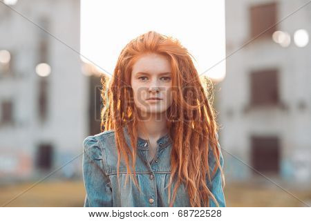 Young Girl With Dreadlocks Outdoors