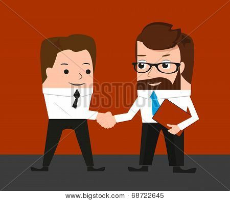 Lucky businessman is shaking hands with a colleague