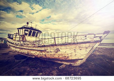 Vintage Old Boat On Junk Yard.