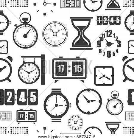 Different slyles of clock seamless background