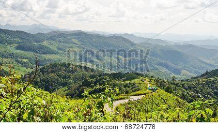 Landscape High Mountain Range At Viewpoint Doi Mae U Ko