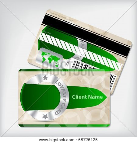 Loyalty Card Design With Green Ribbon