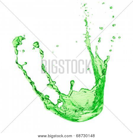 green juice splash on white background