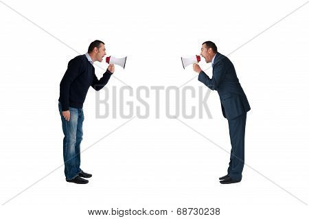 Men Shouting Through Megaphones Isolated