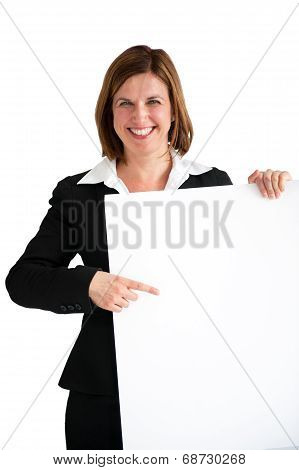 Businesswoman Pointing Blank White Board Isolated