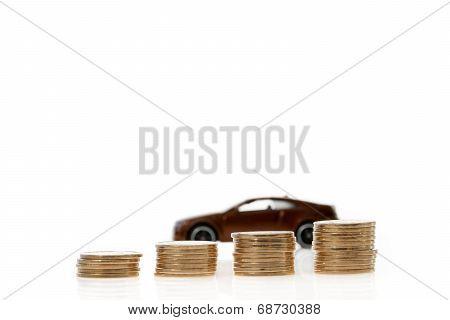 Car Behind Growing Piles Of Coins