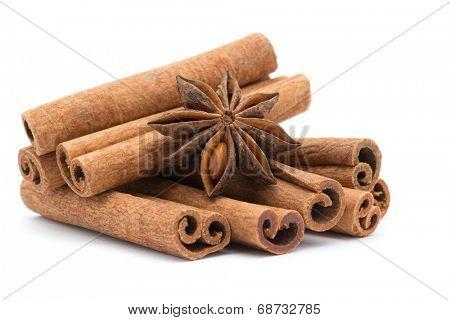 anice and cinnamon on white