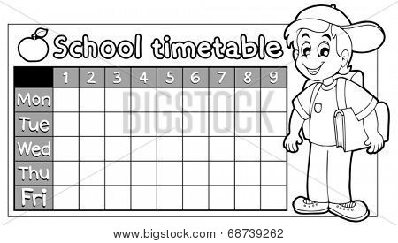 Coloring book school timetable 9 - eps10 vector illustration.