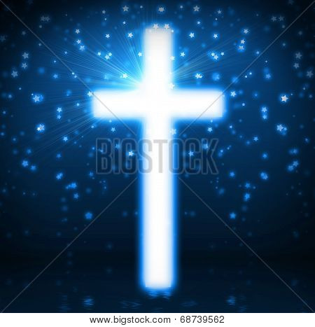 Cross On Blue Background