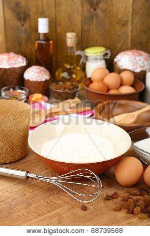 Easter cake preparing in kitchen