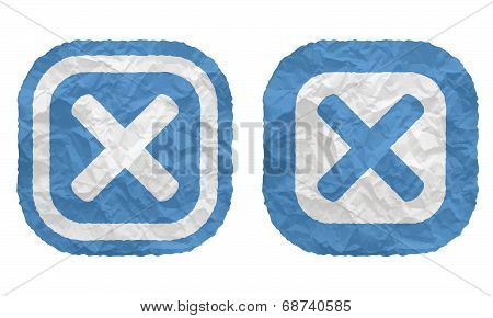 Two Frames With Texture Crumpled Paper And Ban Symbol