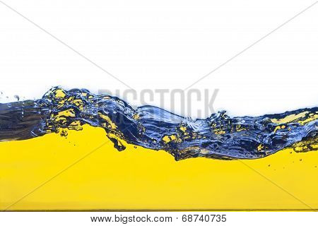 Abstract Image Of A Yellow Liquid Spilled. On A White Background.