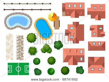 Landscape, garden and architectural elements