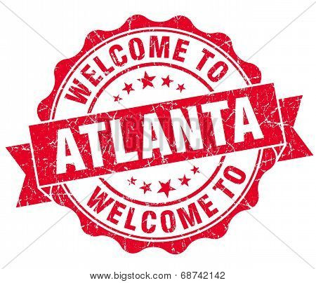 Welcome To Atlanta Red Vintage Isolated Seal