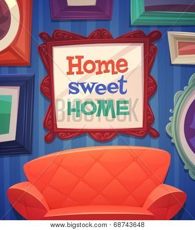 Sweet home card \ poster design. Vector illustration
