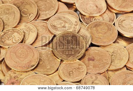 Old  Dirty Ussr Coins Closeup