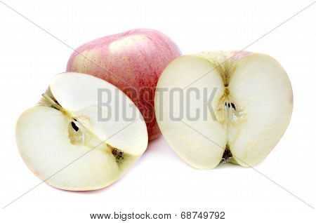 Red Apple  Fruit And Haft Of Apple