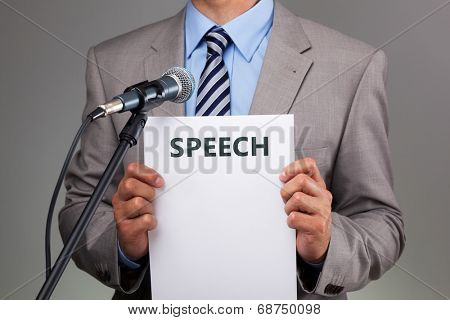 Interview or making a speech with microphone concept for speech, communication or presentation