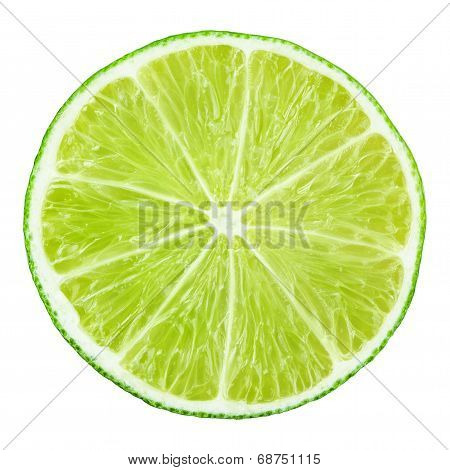 Slice Of Lime Citrus Fruit On White