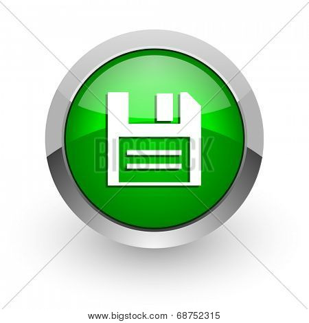 disk green glossy web icon