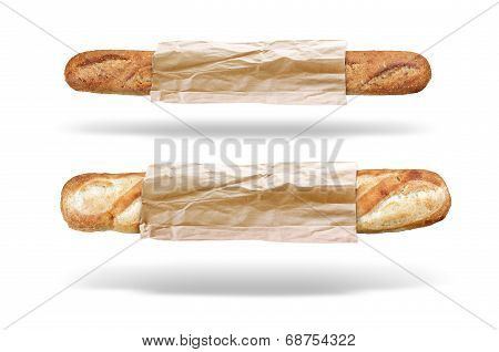 two fresh bread baguettes