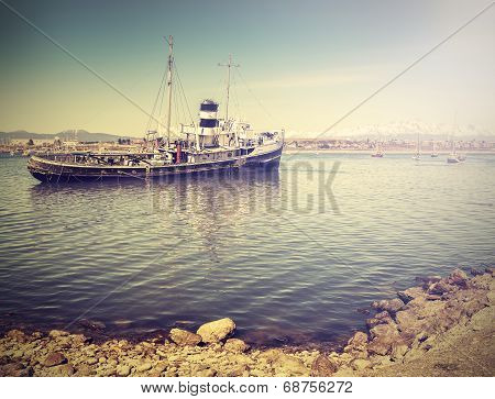 Vintage Photo Of Old Ship Wreck In Harbour.
