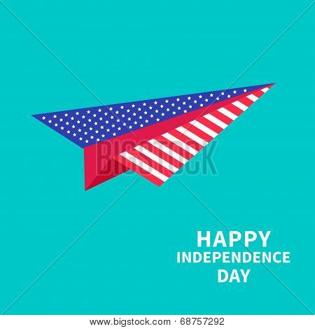 Big Paper Plane. Dash Line. Happy Independence Day United States Of America. 4Th Of July.