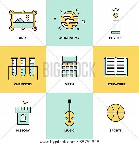 Education Subjects Flat Icons