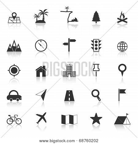 Location Icons With Reflect On White Background
