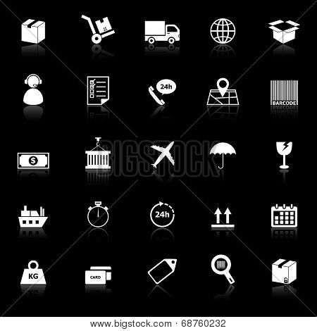 Logistics Icons With Reflect On Black Background