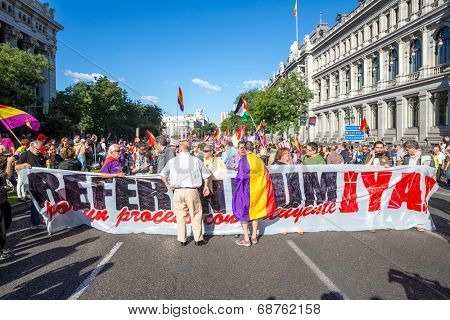 Madrid - JUN 7: Thousands of protesters have taken to the streets of Madrid to demand a referendum to abolish Spain's monarchy on Jun 7, 2014 in Madrid, Spain.