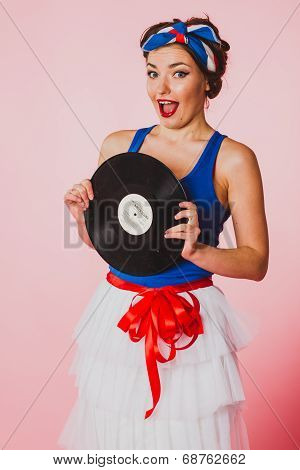 Pin Up Girl With Disc Record